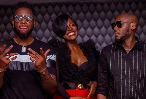 Alex Unusual captured with 2Baba and Teddy A in Campari Red Party