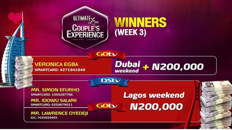 Winners of Ultimate Love Couple's Experience Week 3.
