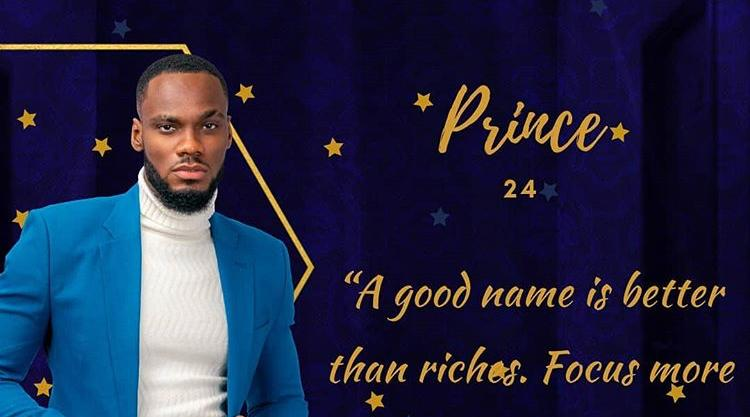 Prince BBNaija Evicted in Week 8 from Big Brother Naija Lockdown.