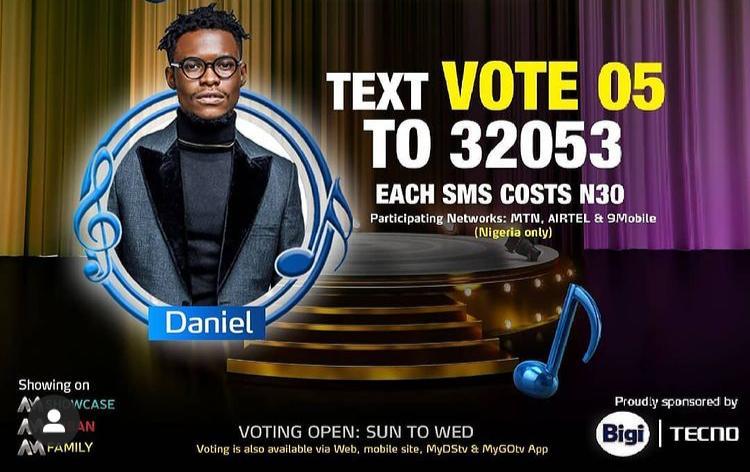 How to Vote Daniel on Nigerian Idol 2021 on Mobile, Website, SMS, GOtv App. DStv App.