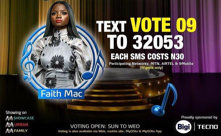 How to Vote Faith Mac on Nigerian Idol 2021 on Mobile, Website, SMS, GOtv App. DStv App.