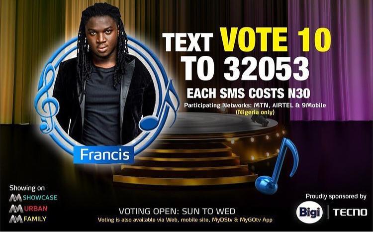 How to Vote Francis on Nigerian Idol 2021 on Mobile, Website, SMS, GOtv App. DStv App