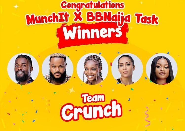 Team Crunch: (Maria, JMK, White Money, Michael, and Peace) is the overall winner of the Munch It task.